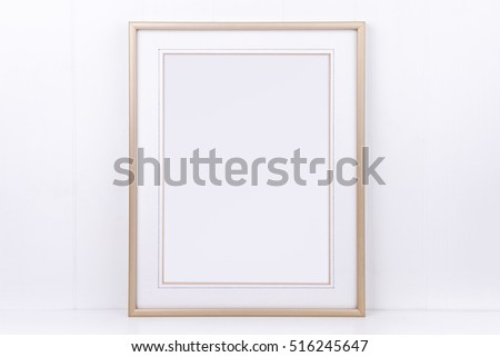 Mock up styled photography, plain thin portrait gold frame on a white background, overlay quote, promotion, headline, design, great for small businesses, lifestyle bloggers and social media campaigns