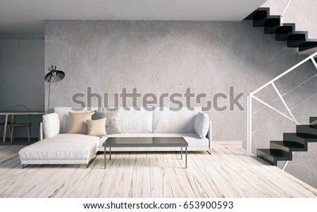 Mock Up Wall In Interior With Stairs And Sofa Living Room Hipster Style 3d