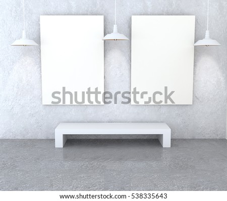 Mockup gallery interior. Paintings with a blank canvas and light gray walls plastered. White bench and lamp. 3D-rendering