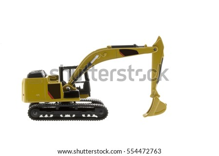 Model excavator loader isolated on white background