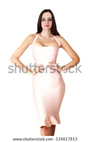 Model in elegant long dress with shapely fit