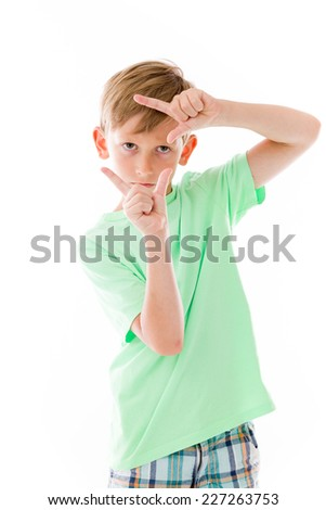 model isolated on plain background hand gesture framing focusing
