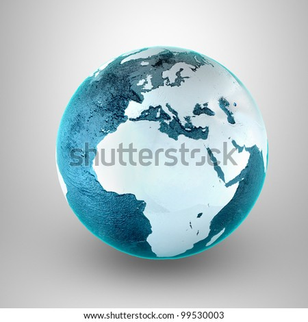 Model of Earth. Conceptual symbol of the Earth. Africa and Europe view. Planet earth model on a gray background.