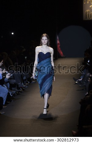 Model walks the Runway at the Fashion for Relief Show at Mercedes Benz Fashion Week 2015 in New York City on February 14, 2015