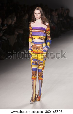 Model walks the runway for Japanese Designer Old Honey during Asian Fashion Collection in Mercedes Benz fashion week Fall Winter 2015 at the Lincoln Center in New York City on February 14 2015