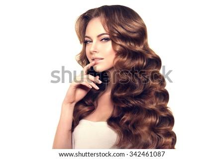 Long Hair Waves Curls Updo Hairstyle Stock Photo - Haircut girl model