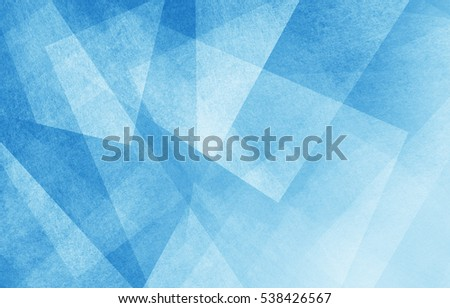 modern abstract blue background design with layers of textured white transparent material in triangle diamond and squares shapes in random geometric pattern