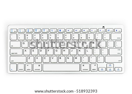 Modern aluminum computer keyboard. Wireless, blue-tooth computer keyboard isolated on white background. Close up of whit, silver  wireless aluminum fingerboard with english letters.Top view.