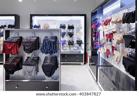 modern and fashionable interior of underwear shop