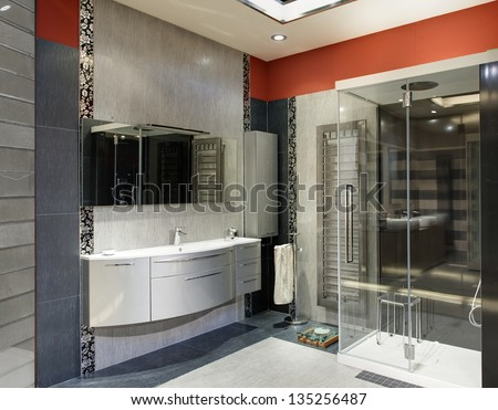 modern and luxury bathroom with a big shower