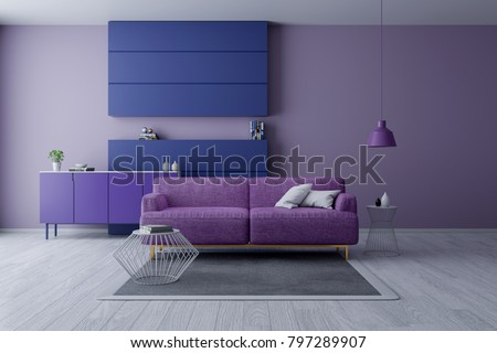 Modern And Minamalist Interior Of Living Room ,Ultraviolet Home Decor  Concept, Purple Armchair On