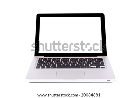 Modern and stylish laptop computer with blank space, isolated on a white background