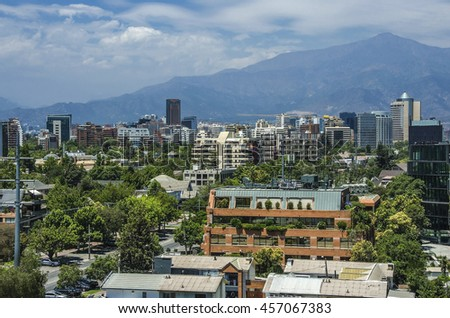 Modern apartment buildings and flats in downtown Santiago, Chile.