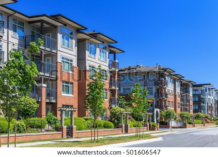 Modern Apartment Buildings New Westminster British Stock Photo ...