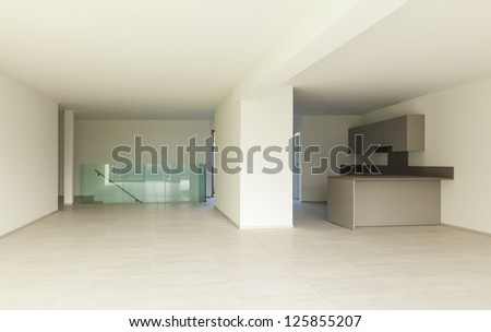 modern architecture, new empty apartment ,view  from wide room
