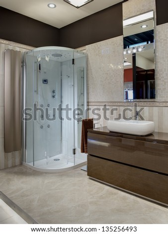 modern bathroom with a shower
