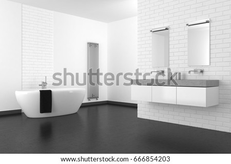 Modern Bathroom With White Brick Wall And Dark Floor In Resin, 3d Rendering Part 97