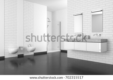 Modern Bathroom With White Brick Wall And Dark Floor In Resin, 3D Rendering