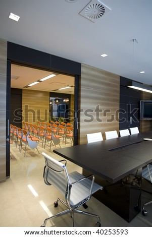 modern boardroom with view to a conference room
