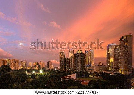 Modern building around Senayan area in Jakarta, the capital city of Indonesia at sunset.