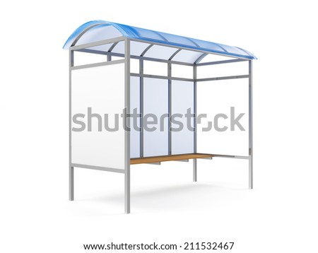 Modern Bus Stop isolated on white background