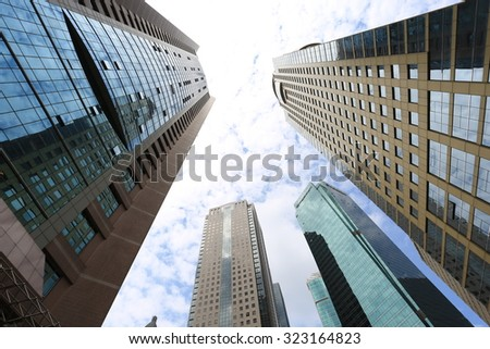 Modern business buildings with blue sky at Shanghai,China
