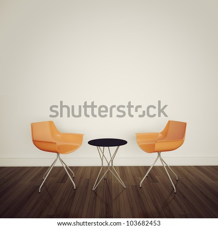 Modern Cafe Interior Table Chairs