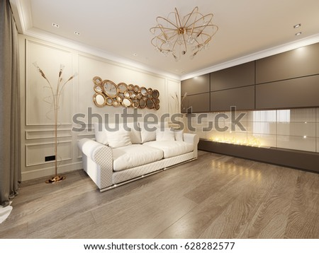modern classic living room. Modern Classic Beige Living Room Interior Design with Large Sofa and  Fireplace Gold Stock Illustration