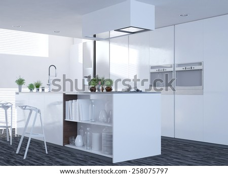 Modern clean white kitchen interior with an open-plan design and island counter with stools with large side windows letting in sunlight. 3d Rendering.