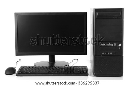 Modern computer set isolated on white