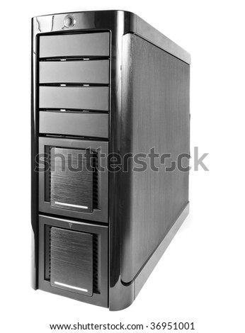 modern corp case of computer isolated on white background