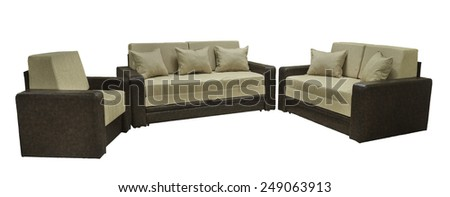 Modern couch. Sofa for home Interior. A modern retro style seafoam, sofa is isolated, against a white background. The sofa has one, two ar three seats, a nuanced pattern.