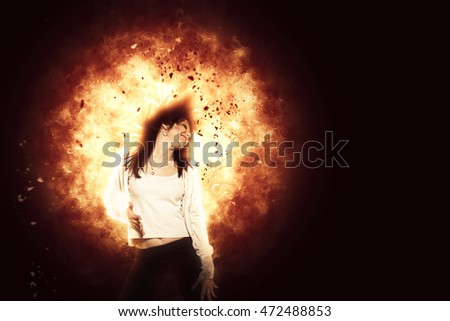 modern dancer exploding background