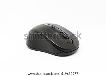 Modern design wireless mouse for computer isolated on white background.