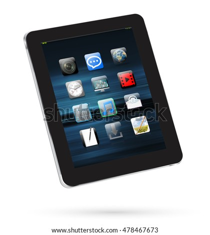 Modern digital black tablet on white background 3D rendering