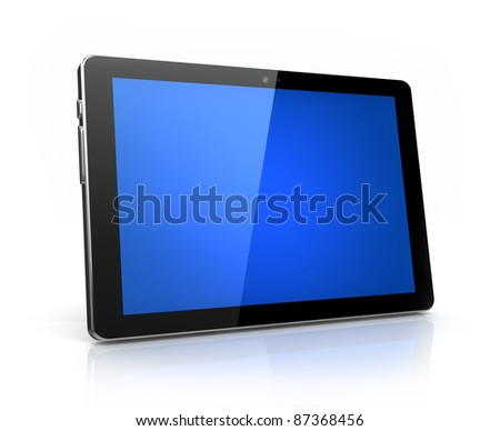 Modern digital tablet with blue screen isolated