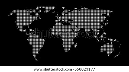 Modern dotted world map background black and white
