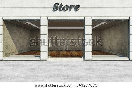 Modern Elite Empty Store Front with Big Windows in the Street at Day Light. 3D Rendering