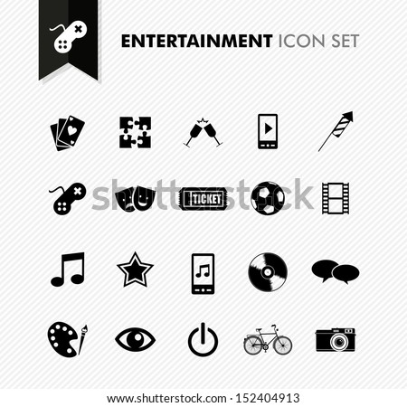 Modern entertainment leisure and fun icon set.