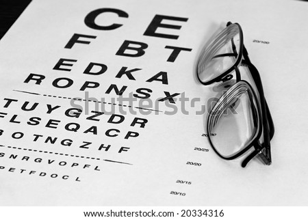 modern eyeglasses resting on eyechart with frame closed finished in black and white