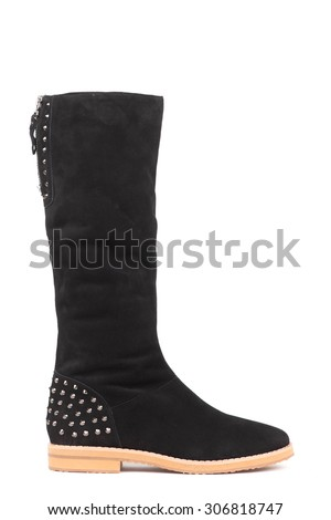 modern fashionable women boots shot in studio, isolated on white