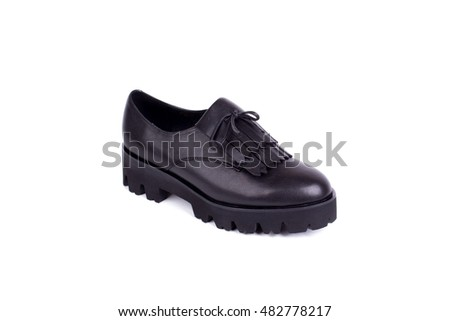 Modern female boots on a white background.