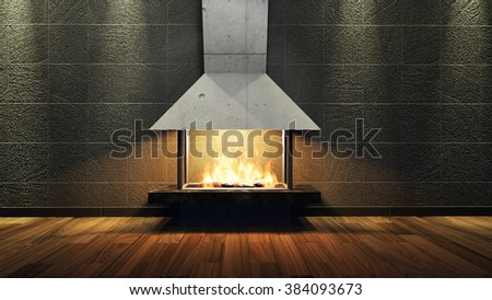 Modern Fireplace in white metal. Concrete stone wall. Soft Lights. 3D Render Image