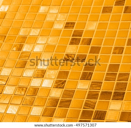 Modern glass mosaic tiles background, small mosaic texture, yellow mosaic in bathroom, high quality resolution