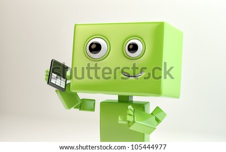 Modern green cyber toy that talking by the phone on creamy, gentle background/Lovely robot with mobile phone