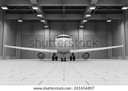 Modern Hangar 3D Interior with Modern Airplane Inside. Passenger Airplane of My Own Design. 3D Rendering