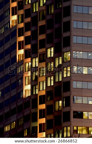 Modern highrise light create a ladder pattern of lighting.