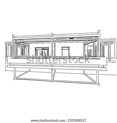 Modern House Building Sketch Stock Illustration - Modern house sketch