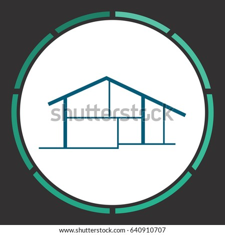 house outline clipart blue. modern house flat simple blue pictogram in a circle illustration icon outline clipart