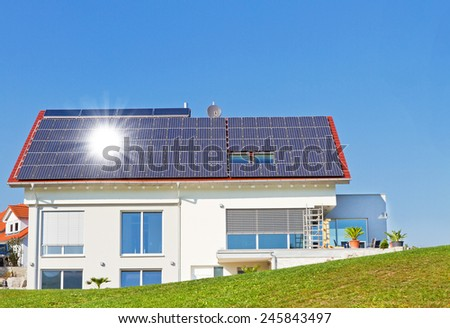 Solar Wind Power House 3d Concept Stock Illustration